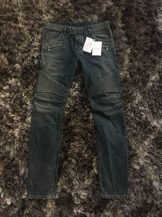 Balmain Faded Blue Biker Jeans (brand new w/ tag) Size US 33
