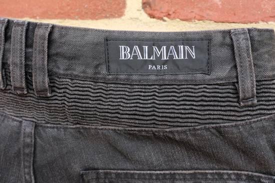 Balmain Black Waxed Biker Jeans Size US 36 / EU 52 - 8