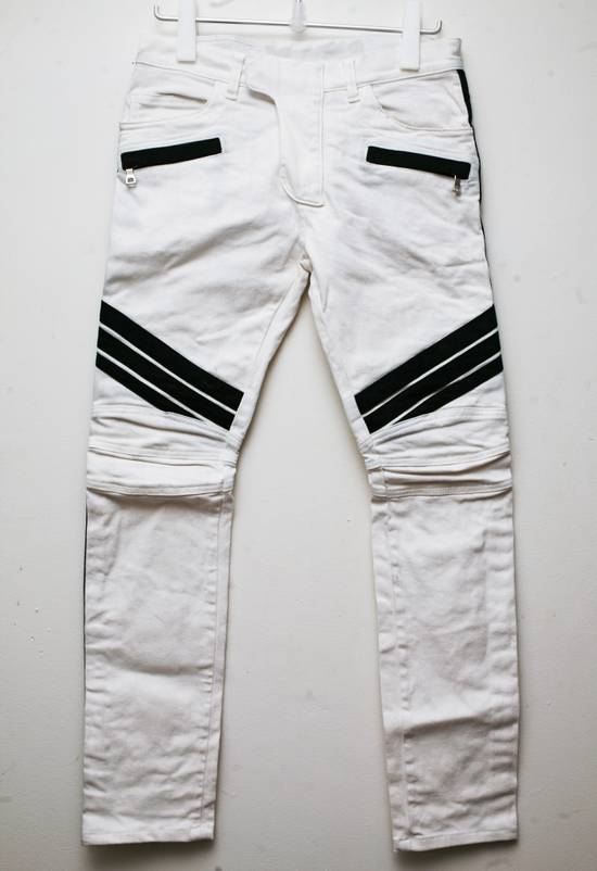 Balmain SS2015 17cm Dirty White Contrast Panelled Stretch Denim Biker Jeans Size US 30 / EU 46