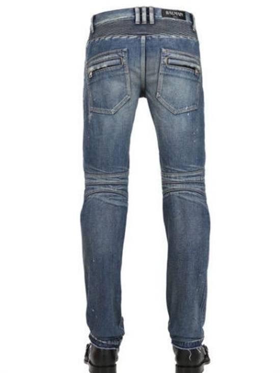 Balmain Balmain Painted Denim Blue Biker Authentic $1490 Jeans Size 27 Size US 27 - 4