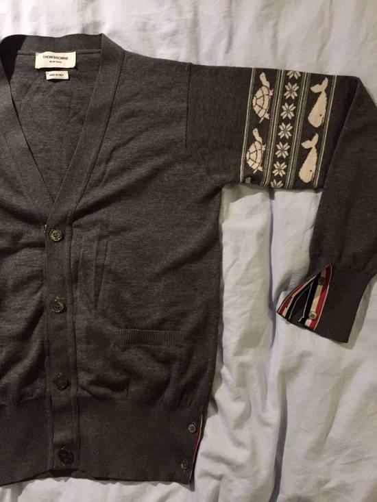 Thom Browne Whale And Turtle Print Fairisle Arm Stripe Merino Cardigan Size US S / EU 44-46 / 1 - 5
