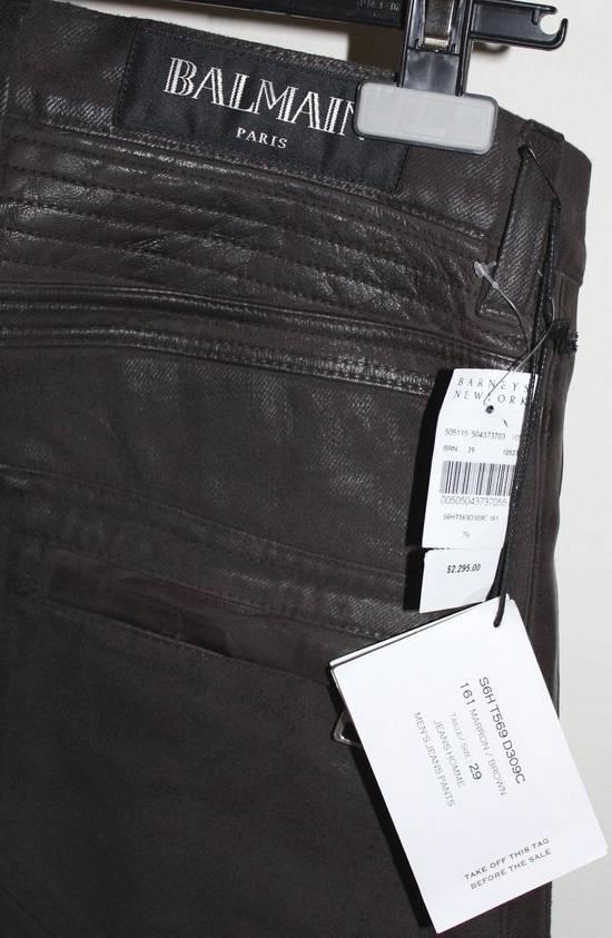 Balmain Balmain Waxed Moto Biker Jeans Leather Trim Size 29 BNWT Dark Brown Denim $2,295 Size US 29 - 5