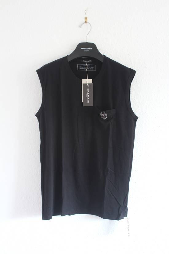 Balmain SS11 Decarnin Era Black Sleeveless Metal Pin Shirt Hand Made New Size US M / EU 48-50 / 2