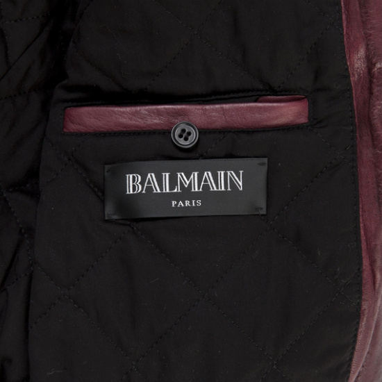 Balmain Oxblood Lambskin Leather Biker Jacket Size US L / EU 52-54 / 3 - 2