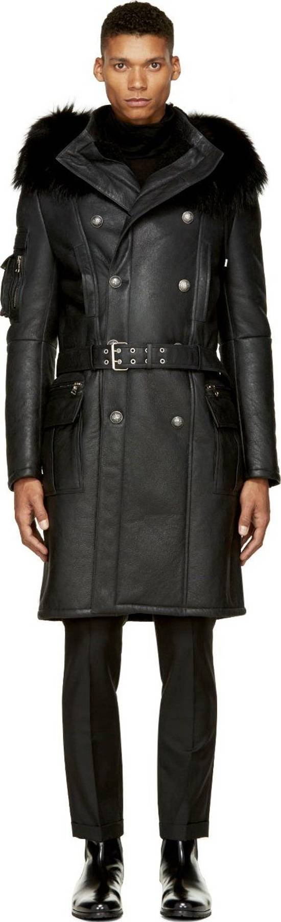 Balmain Balmain Leather Shearling Fur Parka Black Size Small 46-48 Coat Military Size US S / EU 44-46 / 1 - 1