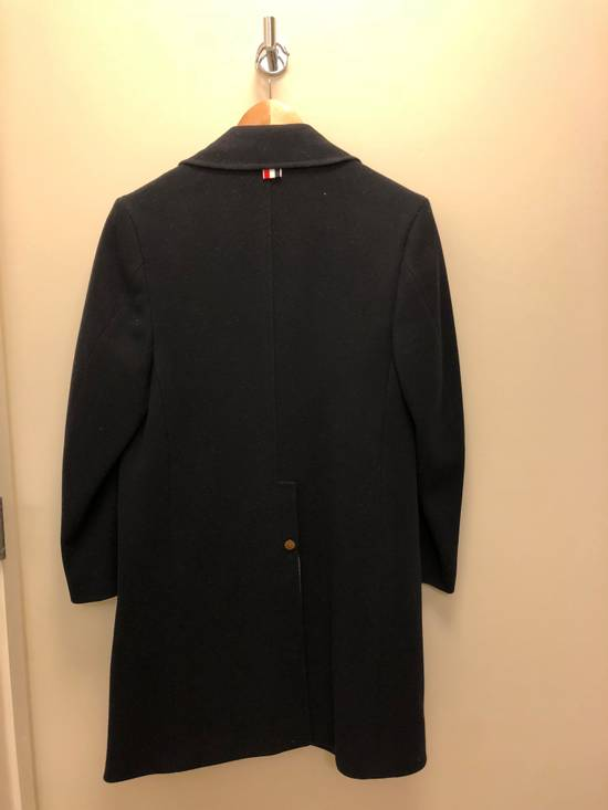 Thom Browne Navy melton wool double-breasted coat Size US XS / EU 42 / 0 - 9
