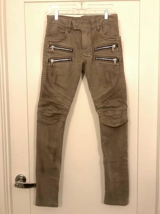 Balmain Balmain Beige Biker Rib Zip Jeans Size US 27
