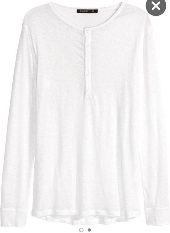 Balmain White Henley Shirt Size US L / EU 52-54 / 3