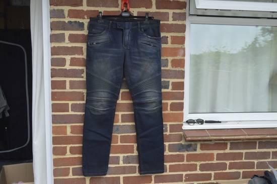 Balmain Dirty Blue Biker Jeans Size US 33