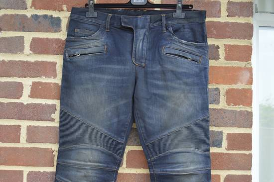 Balmain Dirty Blue Biker Jeans Size US 27 - 4