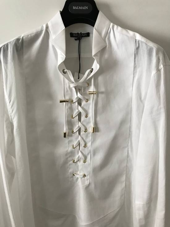 Balmain Size 39 - White Lace-Up Cotton Shirt - SS17 - $1200 Size US M / EU 48-50 / 2 - 1