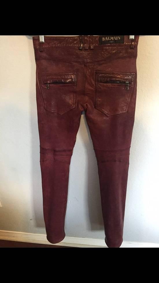 Balmain Balmain Burgundy Lamb Leather Biker Pants Size: 28-XS Size US 28 / EU 44 - 5
