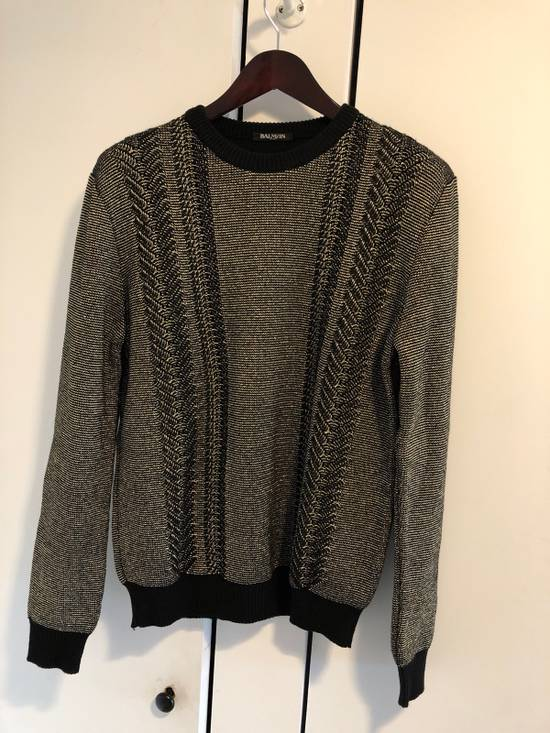 Balmain Gold And Black Knit Sweater Size US L / EU 52-54 / 3