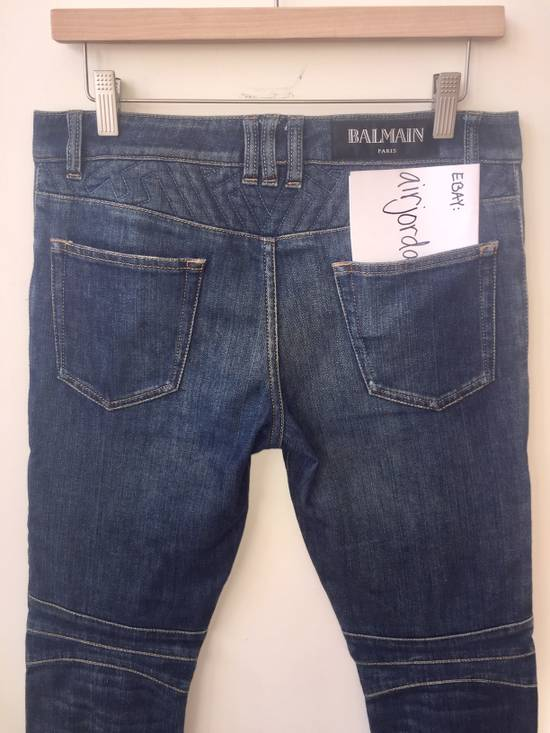 Balmain BLUE GEOMETRIC STRETCH DENIM TRAPUNTO QUILTED BIKER JEANS Size US 29 - 9