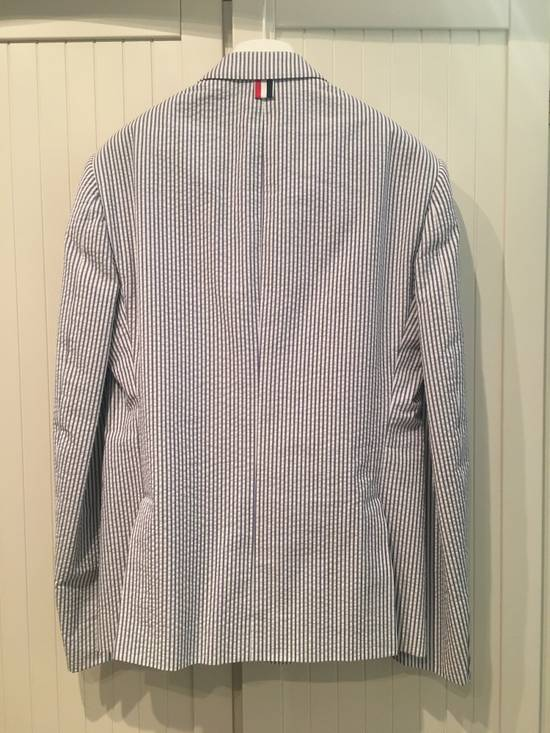 Thom Browne High Armhole Jacket in Navy/White Seersucker Size US M / EU 48-50 / 2 - 8