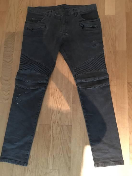 Balmain Dark Grey Balmain Biker Jeans Size US 36 / EU 52