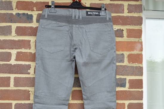 Balmain Grey Distressed Biker Jeans Size US 32 / EU 48 - 3