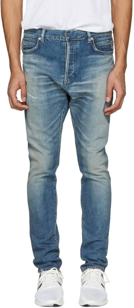 Balmain Blue Distressed Low Rise Jeans Size US 27