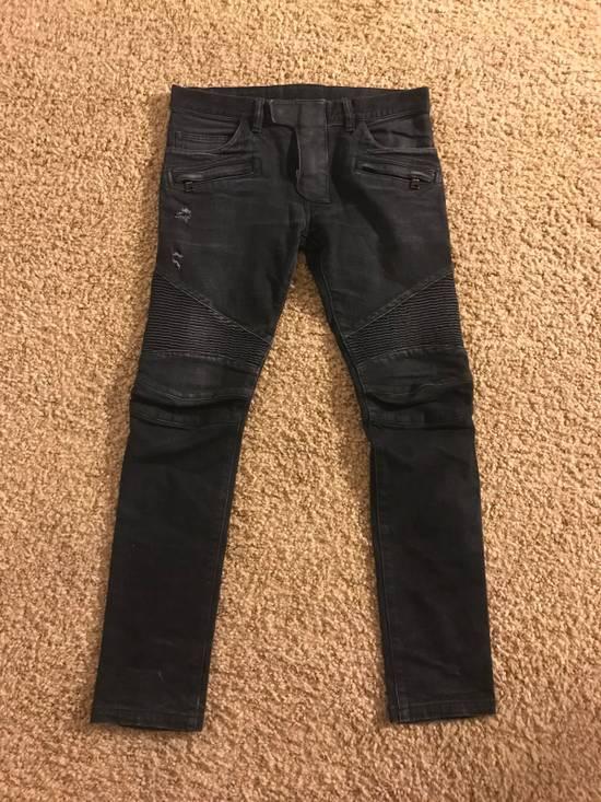 Balmain Balmain Black Cotton Denim Biker Jeans Size US 29
