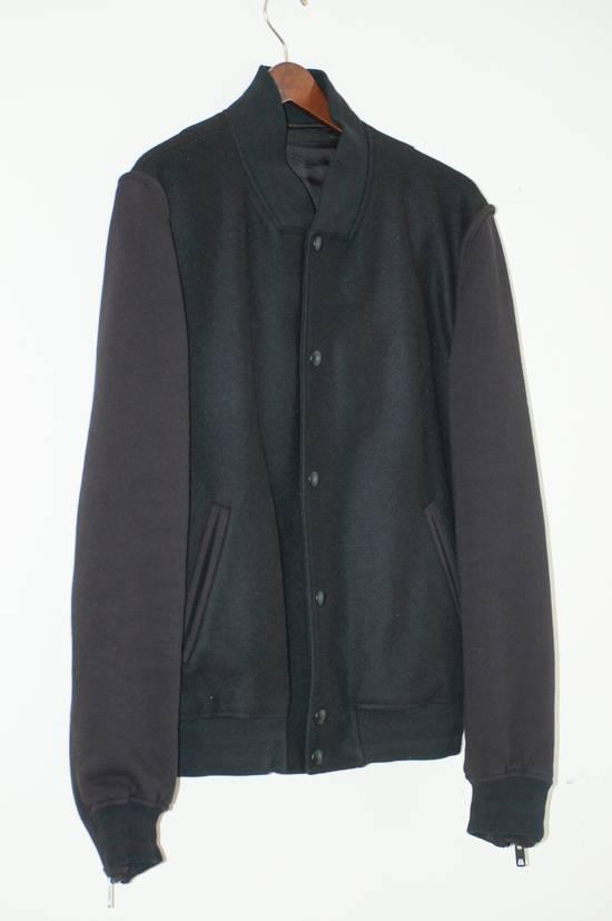 Givenchy Fw 11 Black Wool Blend Zip Sleeve Snap Baseball Bomber Jacket Size US L / EU 52-54 / 3 - 2