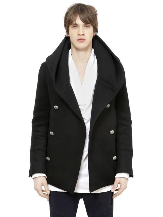 Balmain Black Peacoat Oversize Hood Wool Duffle 52 50 42 Black $4,889 New Size US L / EU 52-54 / 3 - 5