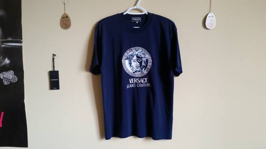 Versace Jeans Couture Medusa Head Greek Key Medallion Embroidered Tee Shirt Size US XL / EU 56 / 4