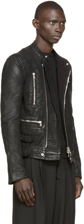 Balmain RARE Waxed Moleskin Biker Jacket Size US L / EU 52-54 / 3 - 2