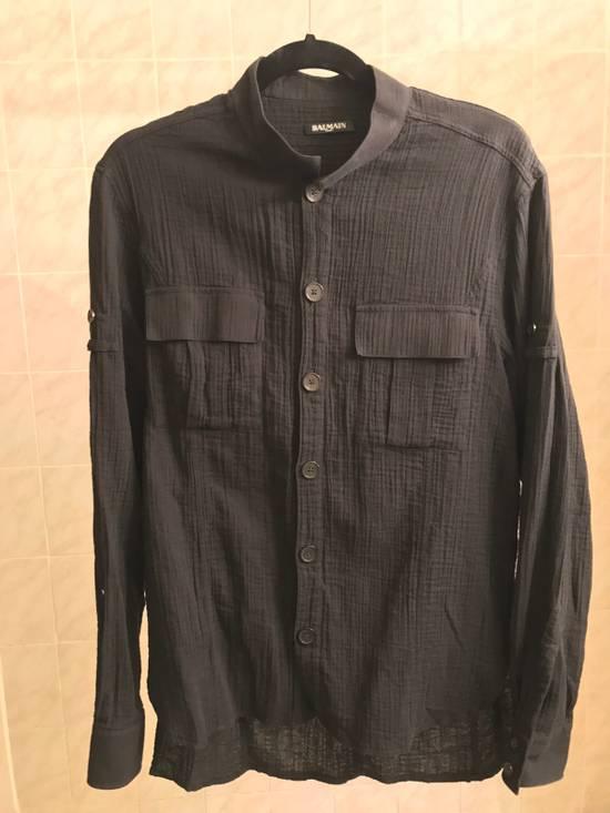 Balmain Black Mandarin Collar Wrinkle Effect Utility Shirt Size US M / EU 48-50 / 2