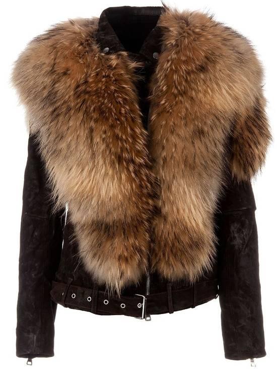 Balmain Waxed Raccoon Fur Suede Biker Leather Jacket Size US XS / EU 42 / 0