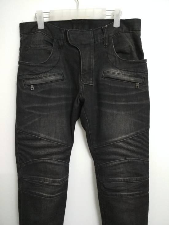 Balmain Authentic BALMAIN Dark Grey Slim Biker Stretch Denim Jeans Made in Italy Size US 32 / EU 48