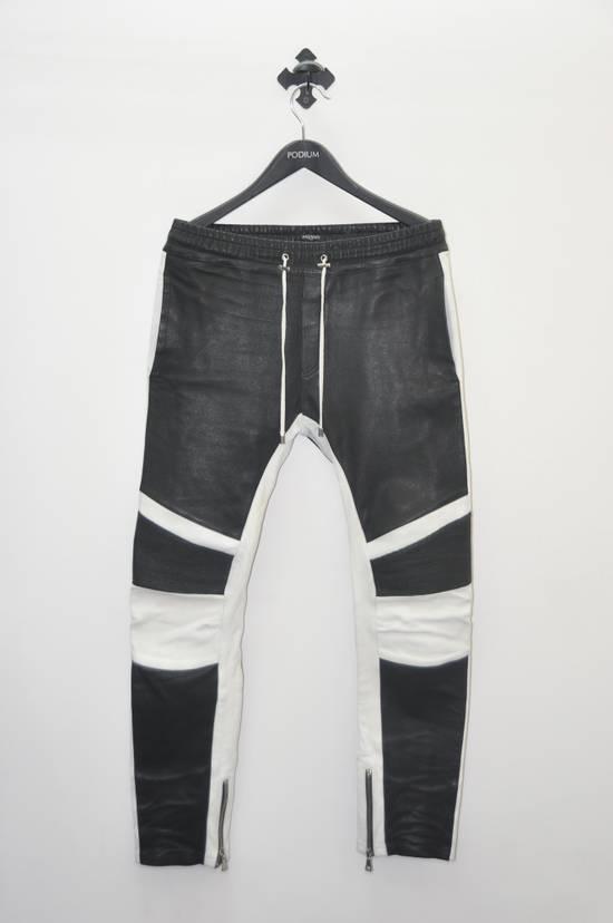 Balmain Balmain Men's Black Biker Style Nappa Leather Trousers Size US 32 / EU 48