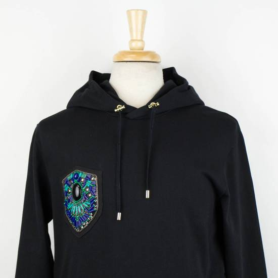 Balmain Men's Black Cotton Embroidered Long Hooded Sweater Size Large Size US L / EU 52-54 / 3 - 4