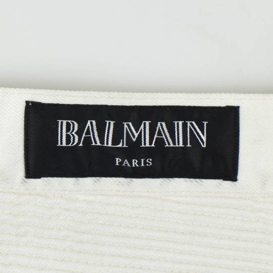 Balmain White Cotton Denim Distressed Biker Jeans Pants Size US 34 / EU 50 - 5