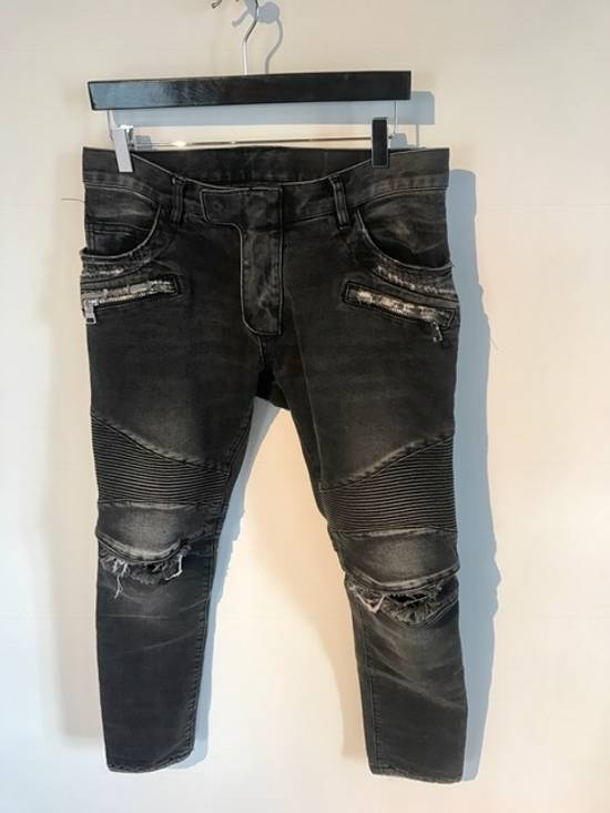 Balmain Balmain Black Distressed Knee Ripped Biker Jeans Size US 30 / EU 46