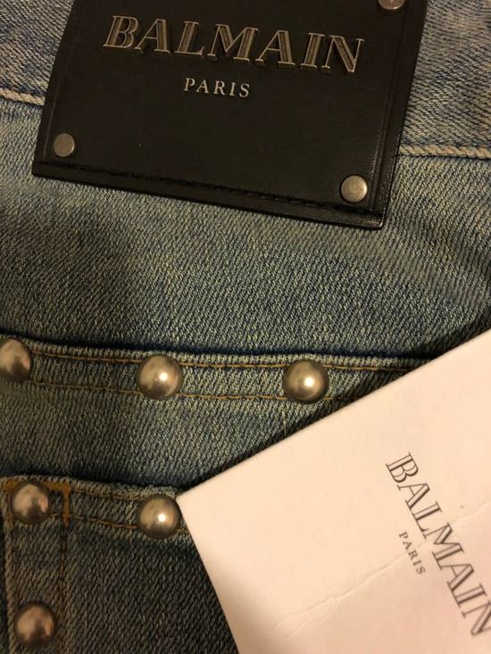 Balmain Balmain Studded Distressed Skinny Moto Jeans Size US 32 / EU 48 - 1
