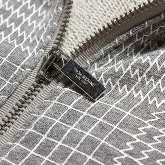 Thom Browne GRAY PRINTED FRENCH TERRY KNIT ZIP-UP HOODIE Size US S / EU 44-46 / 1 - 3