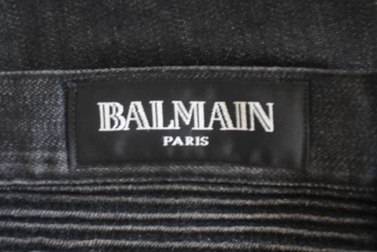 Balmain AW12 Iconic Black Distressed Oiled Skinny Biker Size US 33 - 7