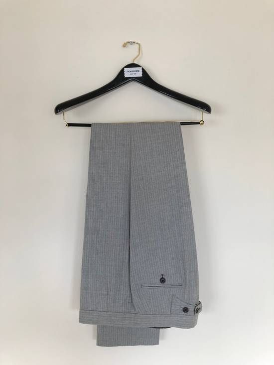 Thom Browne THOM BROWNE FLEECE SUIT IN LT. GRAY/WHITE PINSTRIPE (NEW & UNTAILORED) Size 40R - 5
