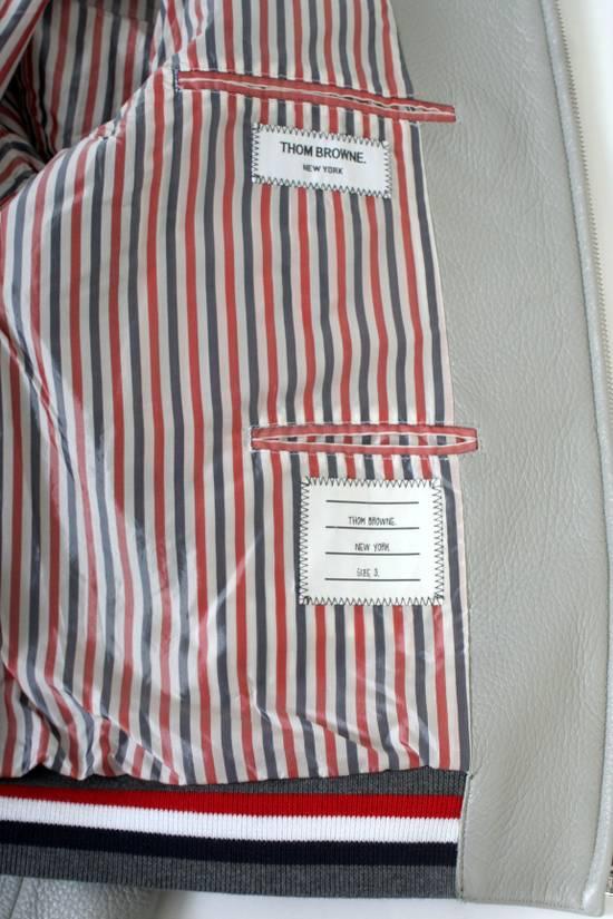 Thom Browne Thom Brown Deerskin Leather Varsity Jacket Grey Size 3 EU50 Medium RRP $3325 Size US M / EU 48-50 / 2 - 14