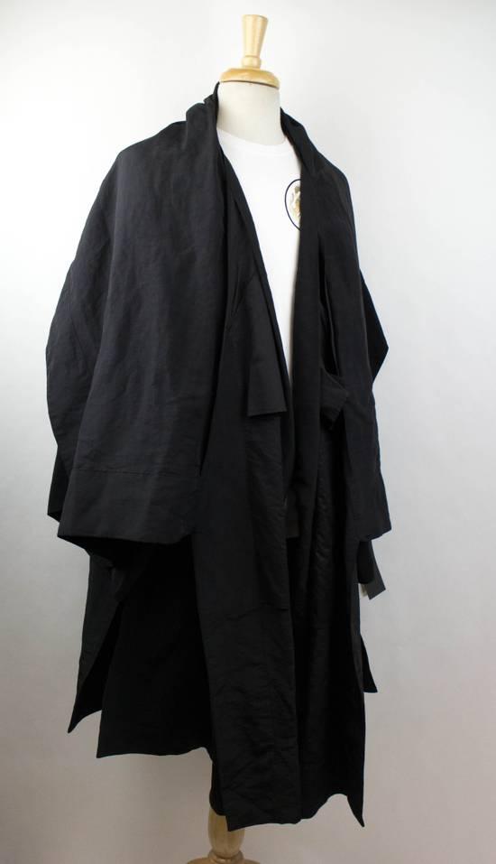 Julius Black Linen Blend 'Kimono Sleeve Long' Trench Coat 2/S Size US S / EU 44-46 / 1 - 2
