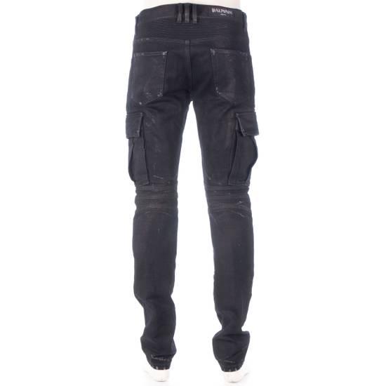 Balmain 1495$ Waxed Cargo Biker Jeans In Black Denim Size US 32 / EU 48 - 4
