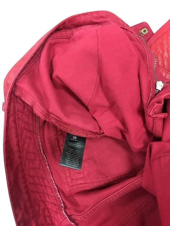 Balmain Balmain Signature Men's Wax Coated Denim Scarlet Red Motto Zip Jeans sz 36 Size US 36 / EU 52 - 6