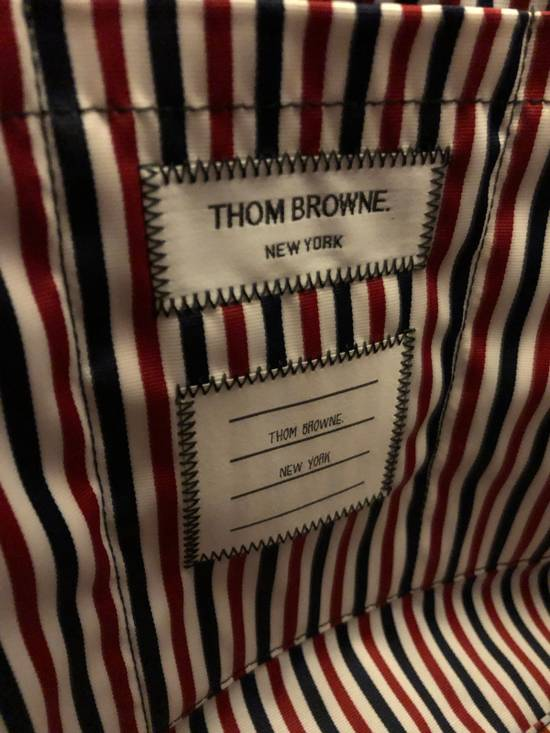 Thom Browne THOM BROWNE Tote In Black Pebble Grain Red, White And Blue Diagonal Strip Size ONE SIZE - 9