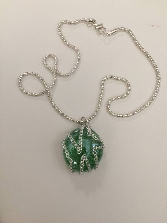 Jw Green Round Glass necklace with Chain Size ONE SIZE