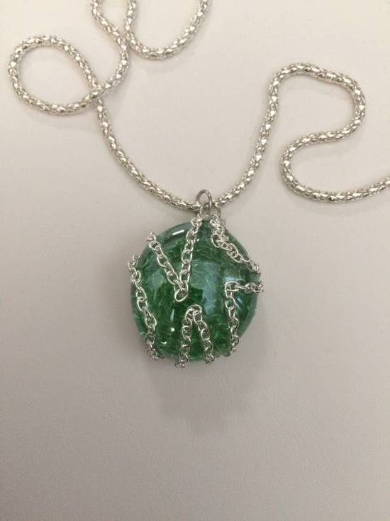 Jw Green Round Glass necklace with Chain Size ONE SIZE - 2