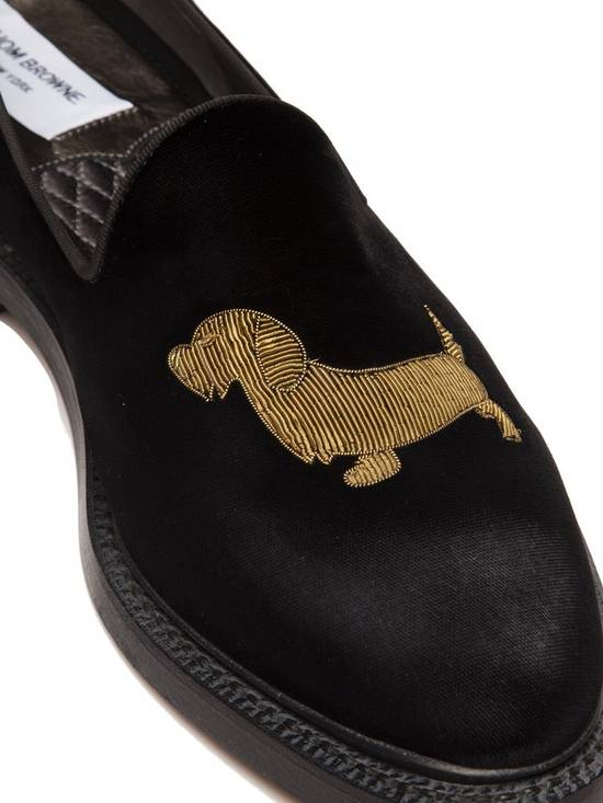 Thom Browne Embroidered Dog Distressed Velvet Runway Loafers Size US 11 / EU 44 - 5