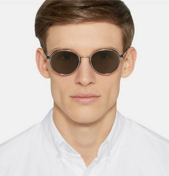 Thom Browne NEW Thom Browne TB-106 E Silver - Navy Dark Brown Sunglasses 50-21-145mm round Size ONE SIZE - 3