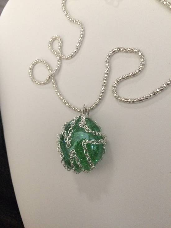 Jw Green Round Glass necklace with Chain Size ONE SIZE - 1