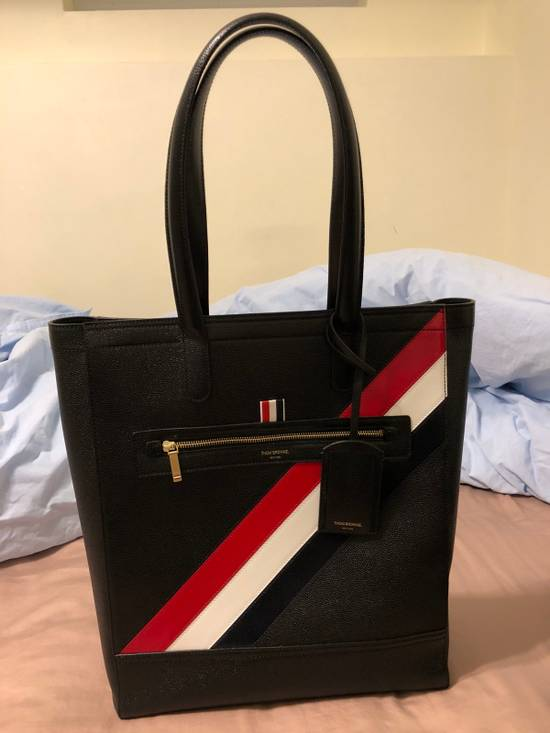 Thom Browne THOM BROWNE Tote In Black Pebble Grain Red, White And Blue Diagonal Strip Size ONE SIZE