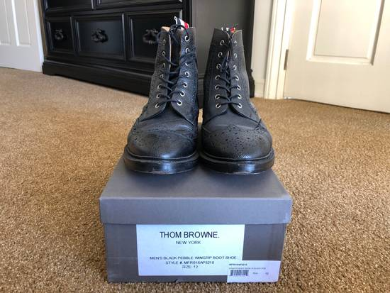 Thom Browne Men's Black Pebble Wingtip Boot Shoe Size US 12 / EU 45 - 3